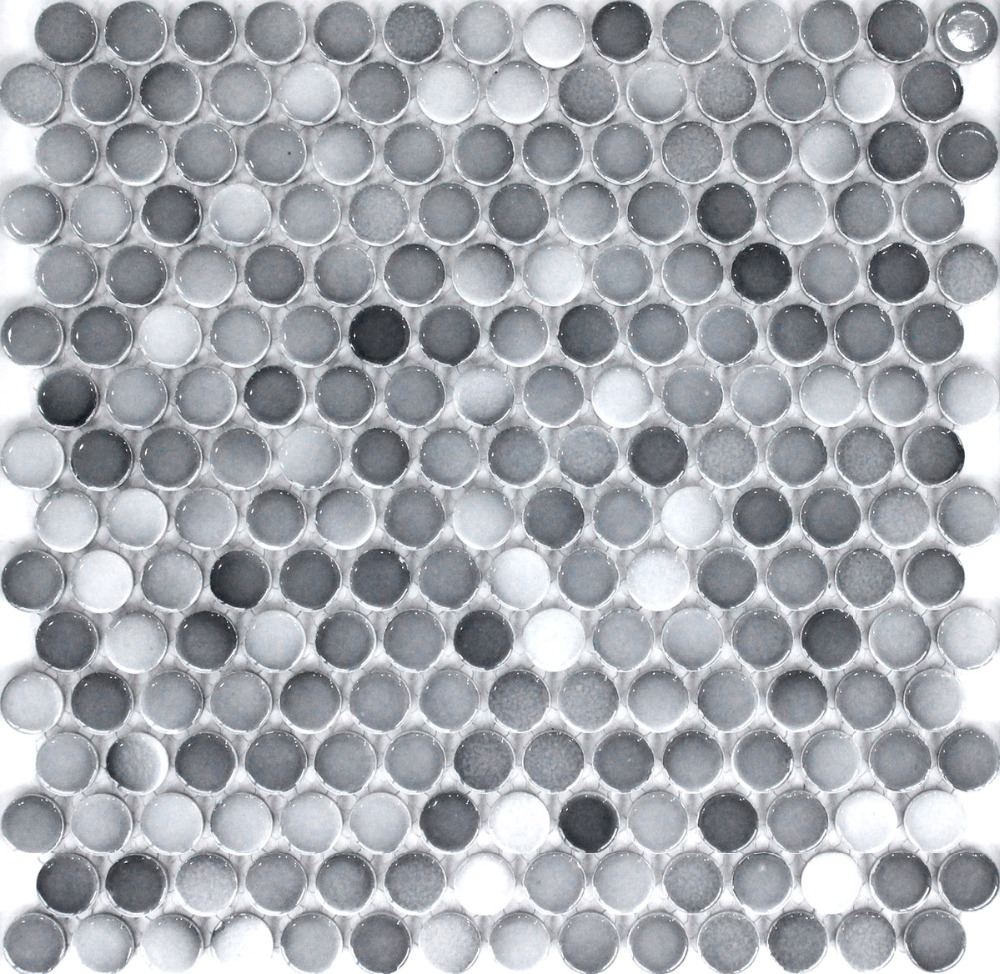 Mosaic floor tiles bathroom - Fashion Gray Round Ceramic Mosaic Tile Kitchen Backsplash Bathroom Wall Paper Tiles Shower Background Home Decoration Indoor