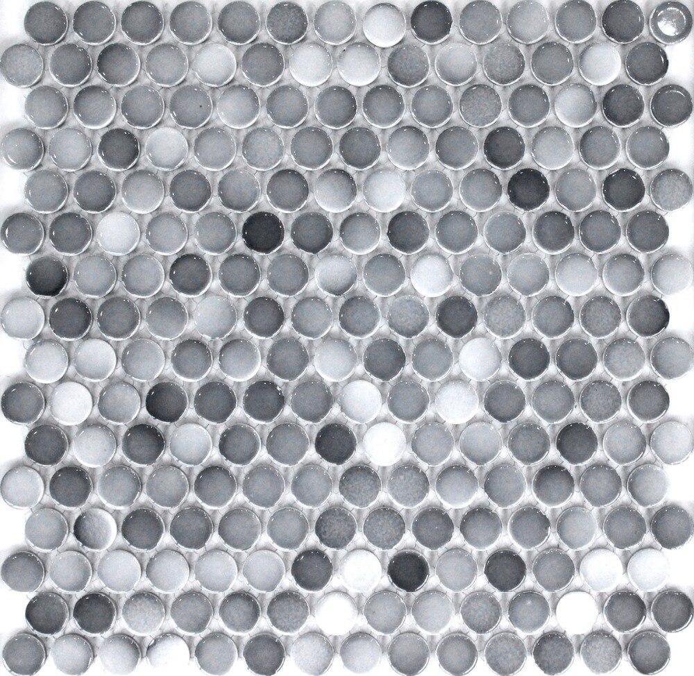 € 32.14 |Mode gris rond en céramique mosaïque carrelage cuisine dosseret  salle de bain mur papier carreaux douche fond décoration de la maison ...