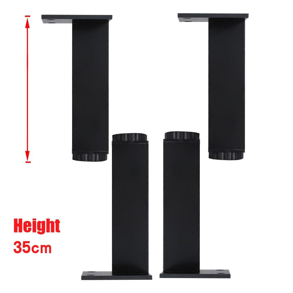 350x38MM Black Rectangle Aluminum Alloy Legs Height Adjustable Feet Cabinet Table Legs