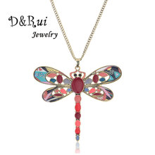 Dragonfly Shape Necklace For Women Colorful Long Sweater Chain Fashion Female Enamel Jewelry Vintage Handmade Pendant Necklaces vintage bullet cross shape sweater chain for men