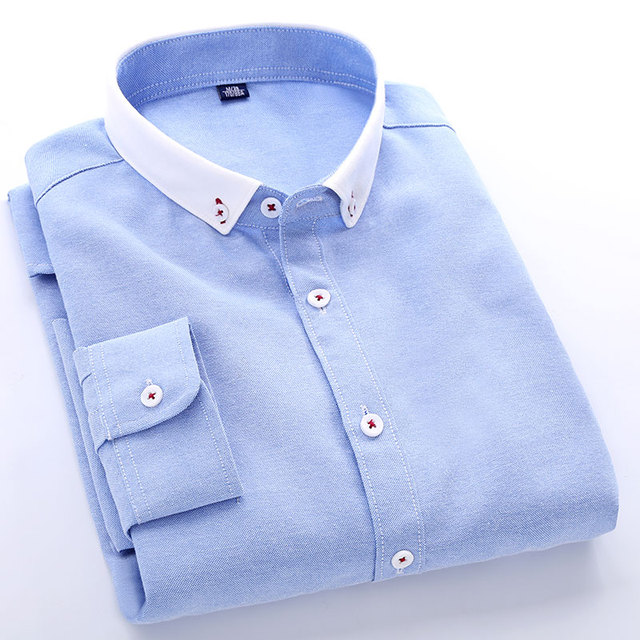 5a09d989690 Men s Long Sleeve Light Blue Oxford Dress Shirt with Left Chest Pocket  Slim-fit Patchwork White Smart Casual Button-down Shirts