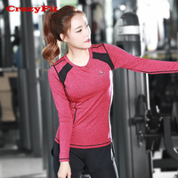 CrazyFit Women Yoga Top Sport TShirt 2018 Long Sleeve Quick Dry Solid Patchwork Fitness Workout Gym Running Ladies Clothes Shirt