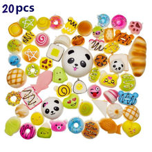 20 Pcs/Pack Squishy Toy Slow Rising Bread Cake Cream random Bun Pendant Donut Charm Antistress Stretchy Squeeze Toy(China)