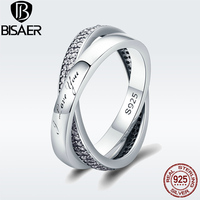 BISAER Valentinstag Geschenk 925 Sterling Silber Süße Versprechen Ring, klar CZ Weiblichen Fingerringe für Frauen Engagement Schmuck GO7651