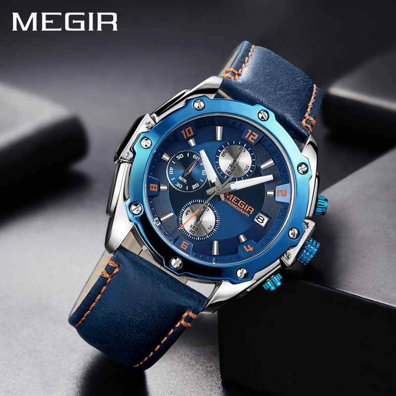 MEGIR Men Chronograph Watch Blue Leather Business Quartz Watches Men Creative Army Military Wrist Watches Relogio Masculino-2074 недорого