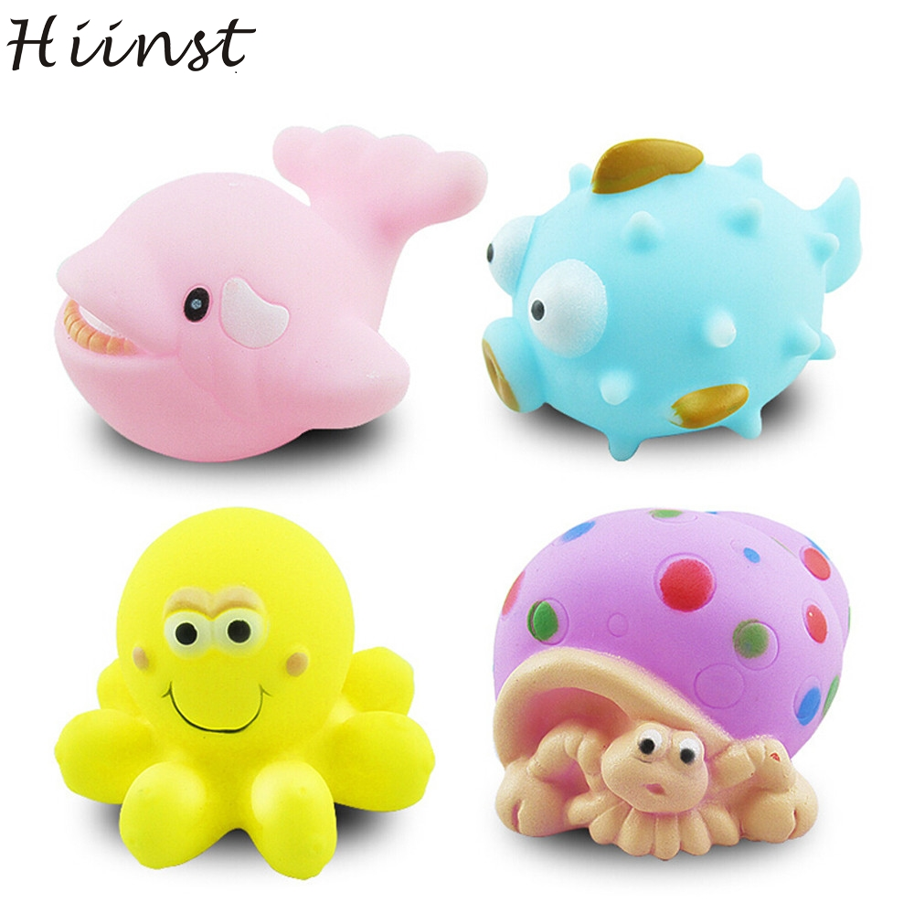 HIINST MallToy 2017 New 4pcs One Dozen Rubber Animals With Sound Baby Shower Party Favors Toy Drop Shipping Aug23