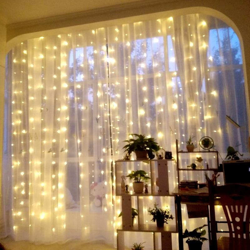 3 მ * 3 მ 300 LED ფარდის შუქები საახალწლო დეკორაცია საშობაო დეკორაციები სახლისთვის Natale Arvore De Natal Decoracion Navidad. ქ