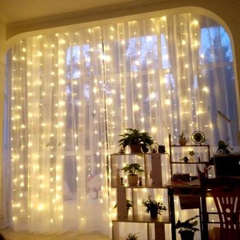 3m * 3m 300 luces De cortina LED decoración De Año Nuevo adornos navideños para el hogar natural Arvore De decoración De Navidad. Q
