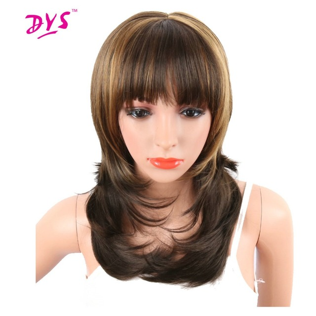 Deyngs Synthetic Women s Wavy Wigs Brown Mix Blonde Color Naturally African  American Hair With Bangs 20inch Heat Resistant Wig da57873ce