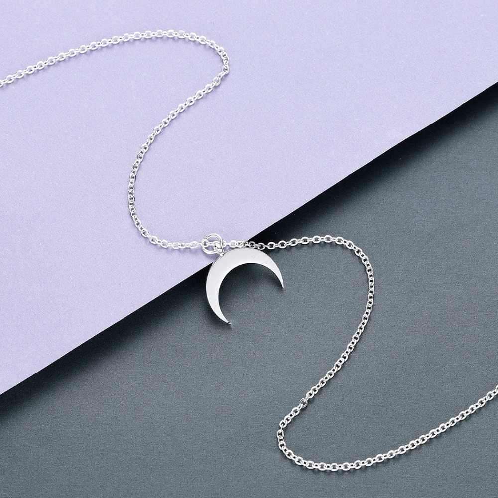 แชนด์เลอร์ฤดูร้อนสแตนเลส Crescent Moon สร้อยคอแฟชั่น Rose Gold Moon จี้ Clavicle CHAIN สร้อยคอผู้หญิง