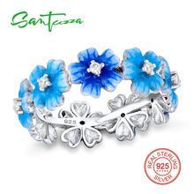 Серебряный цветок кольцо для Для женщин белый кубический цирконий Pure 925 Серебряное кольцо камень cz Модные украшения ручной работы эмаль