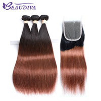 Beaudiva מראש בצבע Ombre T1B/33 חבילות לארוג שיער אדם רמי ישר שיער תחרת סגר פרואני חבילות שיער