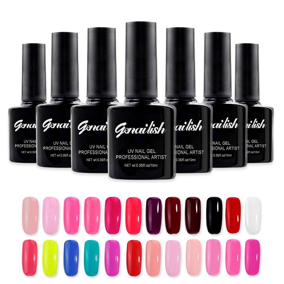 Black Gel Nail Polish: Genailish Black Bottle 168 Color Nail Gel UV Gel Polish
