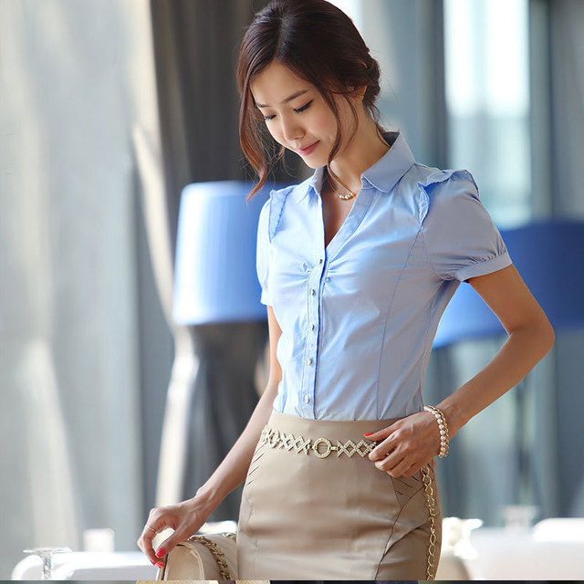 Korean Women Shirt Bodysuit Blouse Designer China Cute Shirts For Business Casual Clothing White