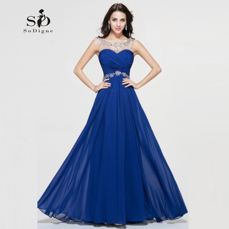 Formal Evening Dress 2018 Royal Blue Cheap Chiffon Rhinestones Long