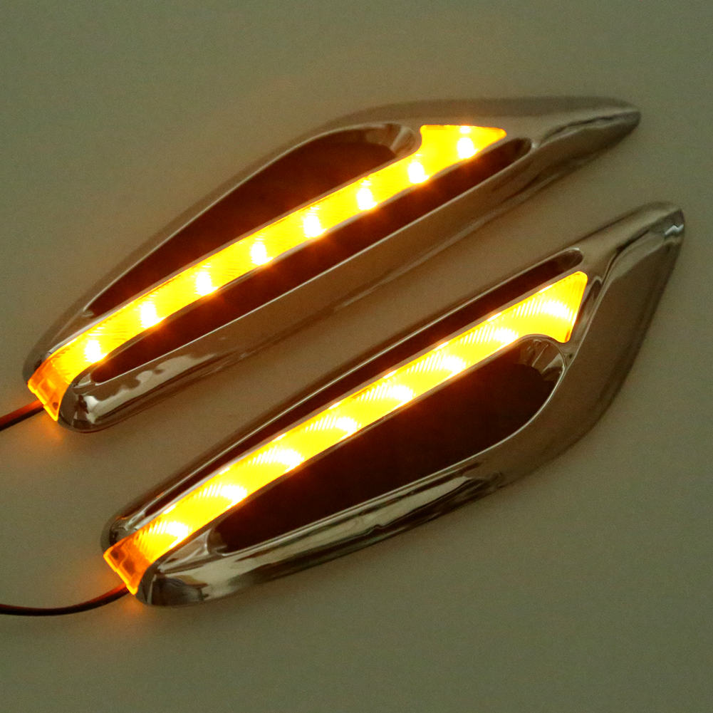 1Pair Steering light Fender Side Lamp Hot Sale DC12V Blade Shape Auto Car LED Side Lights Marker Turn signal Lights