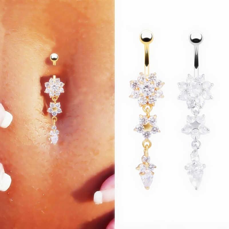 LNRRABC moda mujer chica oro Color circonio flor colgante cristal ombligo y campana botón anillos playa ombligo Piercing cuerpo joyería