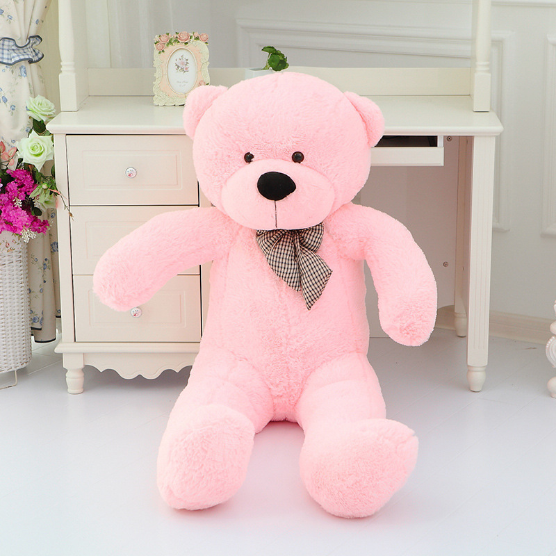 big lovely pink plush teddy bear toy cute big eyes bow big stuffed teddy bear doll gift about 120cm cute big lovely hippo toy plush doll cartoon hippo doll gift toy about 120cm pink