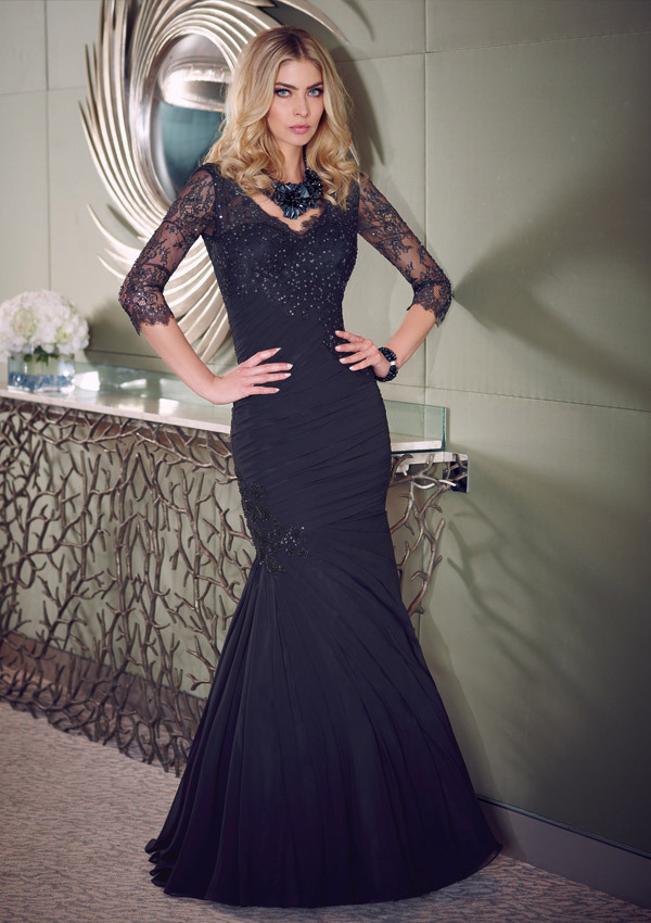 f825f7327c navy blue long dress 2017 Mermaid Lace Evening Dresses V Neck Three Quarter  Sleeve Chiffon Beading Prom Gowns xq96-in Evening Dresses from Weddings    Events ...