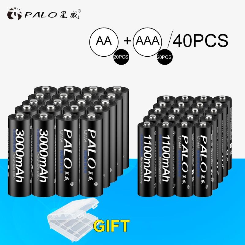 Palo 20 Pcs 1.2 V 3000 mAh AA Batterie + 20 Pcs 1.2 V 1100 mAh Batterie NI-MH AA/ AAA Rechargeable Batterie Pour Jouets De Voiture Calaculators Caméra