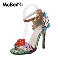 MoBeiNi New Arrived Vogue Women Sandals Color Decals Snakeskin pattern High Heels Sexy Stiletto/Party Wedding Shoes Plus Size