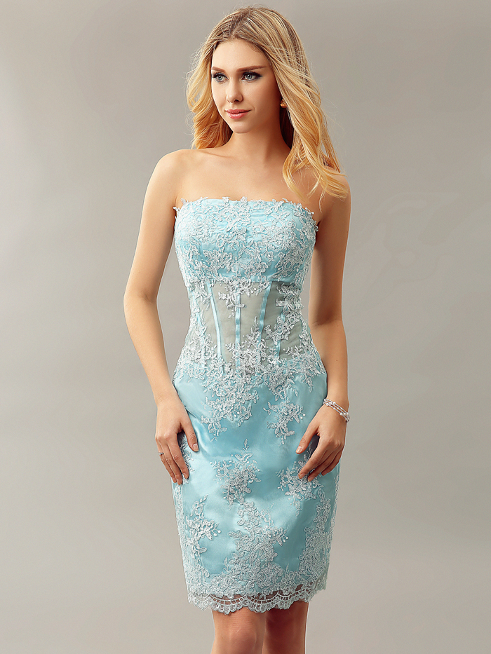 Blue Strapless 2016 Homecoming Dresses Short Illusion Prom Homecoming Gowns  Elegant Mini Women Sexy Tight Fitted Wear cd10296-in Cocktail Dresses from  ... 8a3edaaa9a