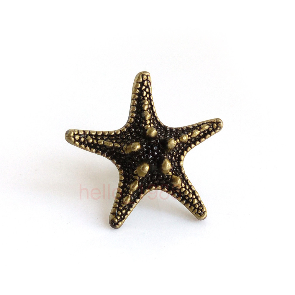 Antique Cute Bronze Starfish Pentagram Cabinet Knobs Furniture Drawer Pulls Closet Handl ...