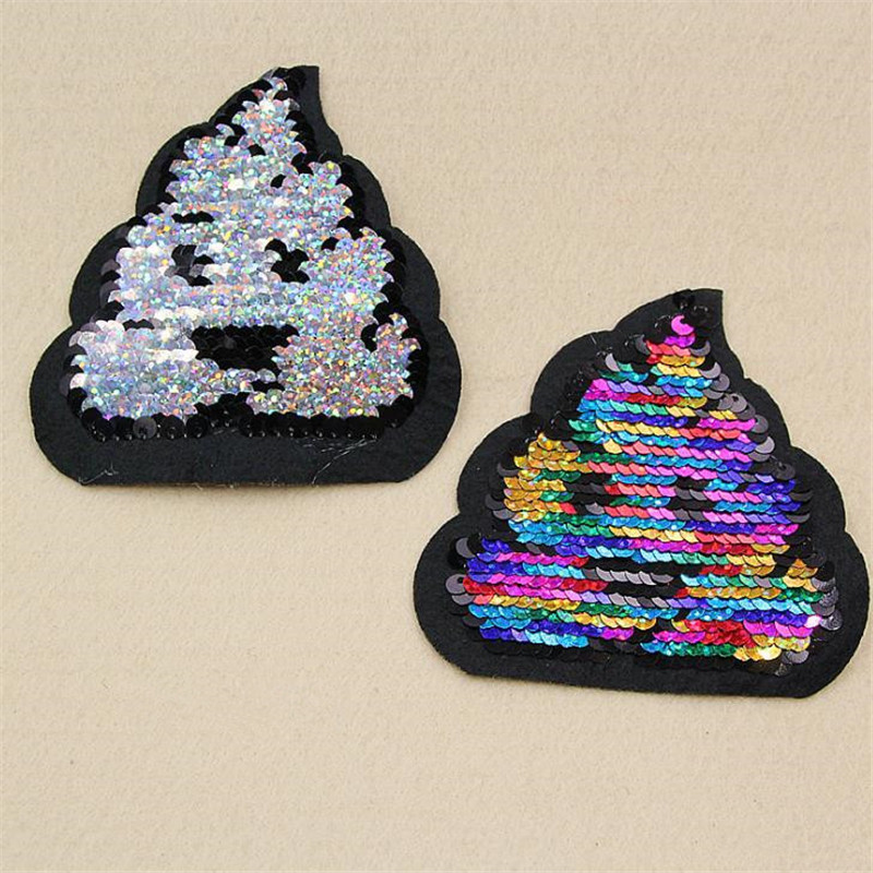 Reversible change color sequins flower patches for clothing 90mm poo deal with it cartoon patch clothes t shirt women stickers