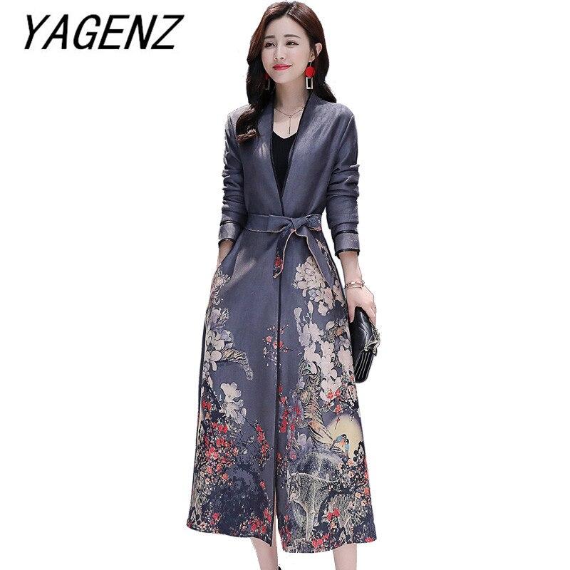 Women 2019 Spring New Deerskin Suede Long Windbreaker National wind Slim Elegant Ladies Overcoat Vintage Printed   Trench   Coats