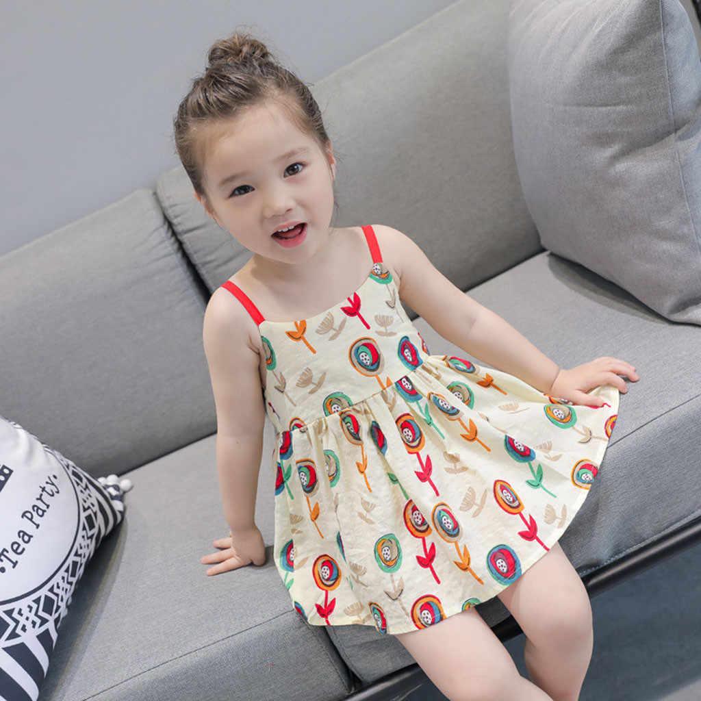 MUQGEW/платье для маленьких девочек праздничные платья с лимонным принтом для маленьких девочек; коллекция 2019 года; летнее платье принцессы без рукавов на бретелях
