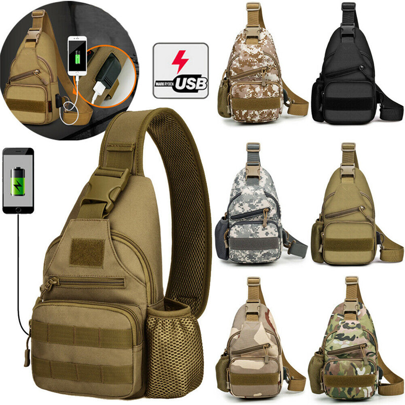 NoEnName Mens Sling Bag+USB Charging Cable Anti-Theft Chest Pack Crossbody  Messenger Travel Shoulder Bags
