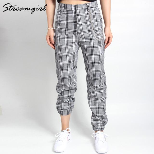 2a005c713148e2 High Waist Plaid Pants Women Trousers Vintage Casual Loose Harem Pants With Chains  Plaid Pantaloon Wide Leg Cargo Pants Capri