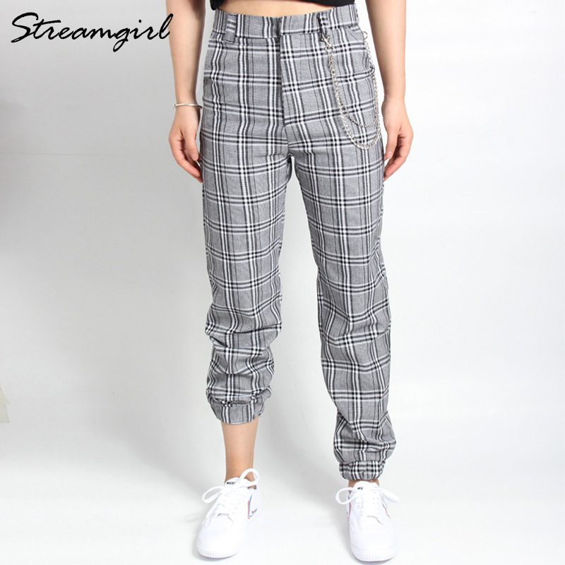 High Waist Plaid   Pants   Women Trousers Vintage Casual Loose Harem   Pants   With Chains Plaid Pantaloon Wide Leg Cargo   Pants     Capri