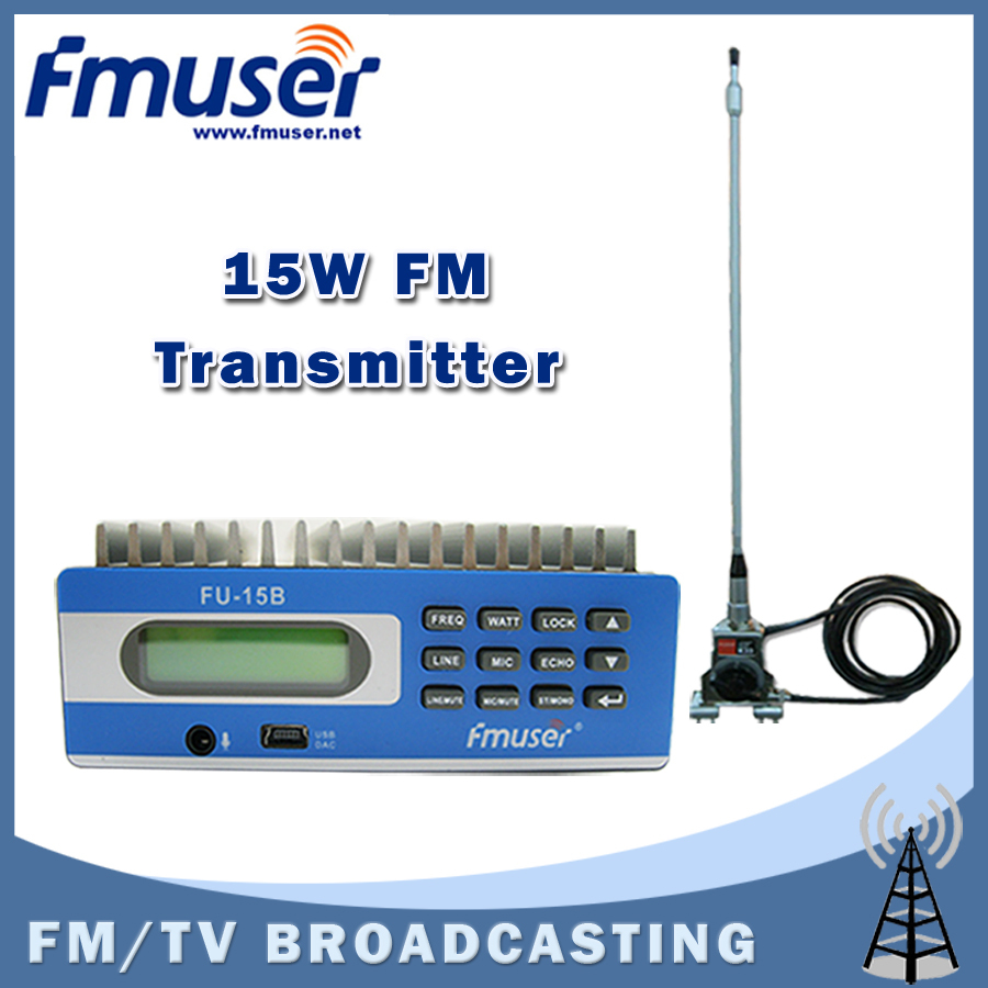 Free shipping FMUSER FU-15B 15w FM transmitter USB Software Control Temperature SWR Protection +CAR Clip antenna +Power supply free shipping fmuser st 05c 0 1w 0 5w fm transmitter antenna power supply kit