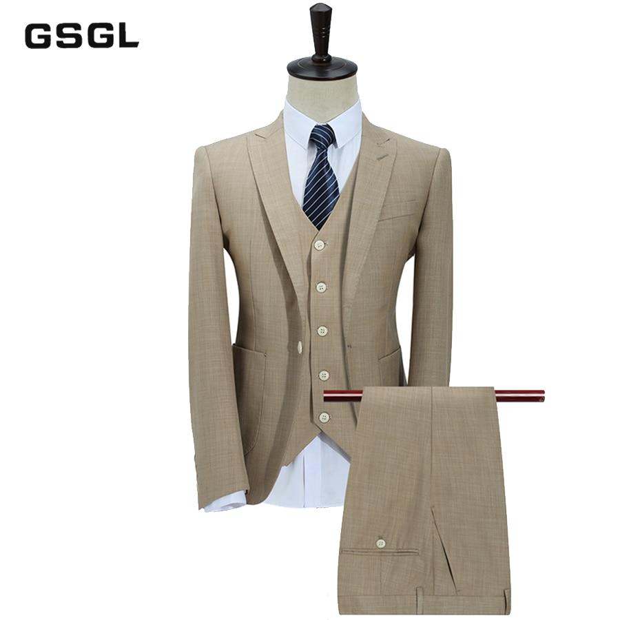 100% Polyester Suits Men Slim Fit 3 Piece Business Wedding Suits Men Khaki Tuxedo Jacket Brand Mens Formal Suit (Jacket+Pants+Ve