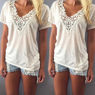 Fashion Women Summer Top Short Sleeve T Shirt Casual Top Tees Shirt Lace V Neck T-Shirts for Women Plus Size S M L XL XXL 5 Size