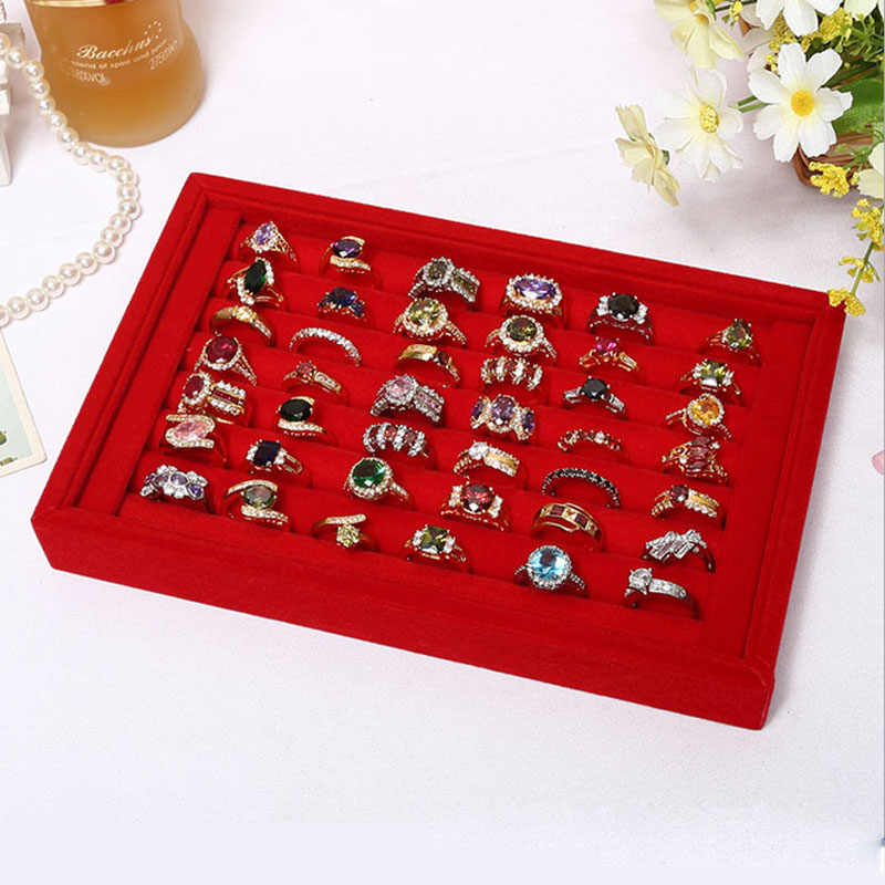 Beludru Suede Cincin Anting-Anting Organizer Telinga STUDS Perhiasan Display Stand Pemegang Rak Showcase Plat Fashion Perhiasan Kotak Kasus Peti Mati