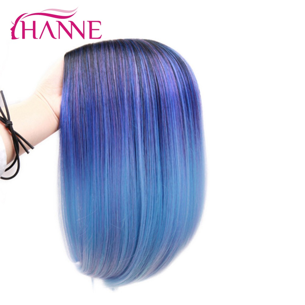 HANNE Ombre negro mezclado azul púrpura destaca Bob pelucas recto pelo sintético a prueba de calor Cosplay o parte peluca