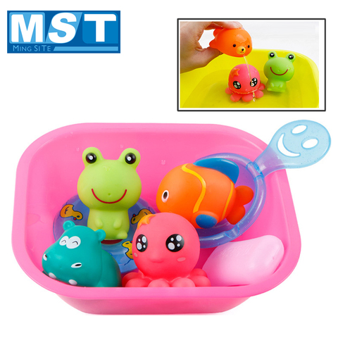 Baby Bath Toys Kids Swimming Water Toys Bathroom Colorful Soft Floating Rubber Animal Squeeze Sound Squeaky Bath Toy Organizer Pakistan