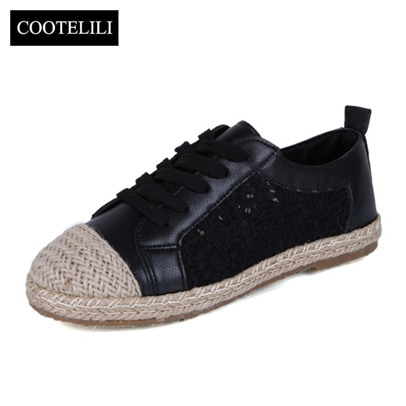 COOTELILI 35-39 Spring Casual Solid Flats Women Shoes Lace-Up Round Toe Loafers Mesh Breathable Fisherman Leisure Ladies Shoes
