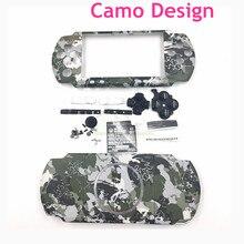 Için PSP3000 Camo Tasarım Konut Shell Kılıf değiştirme PSP 3000 için Tam Konut Kapak Düğmeler Kiti