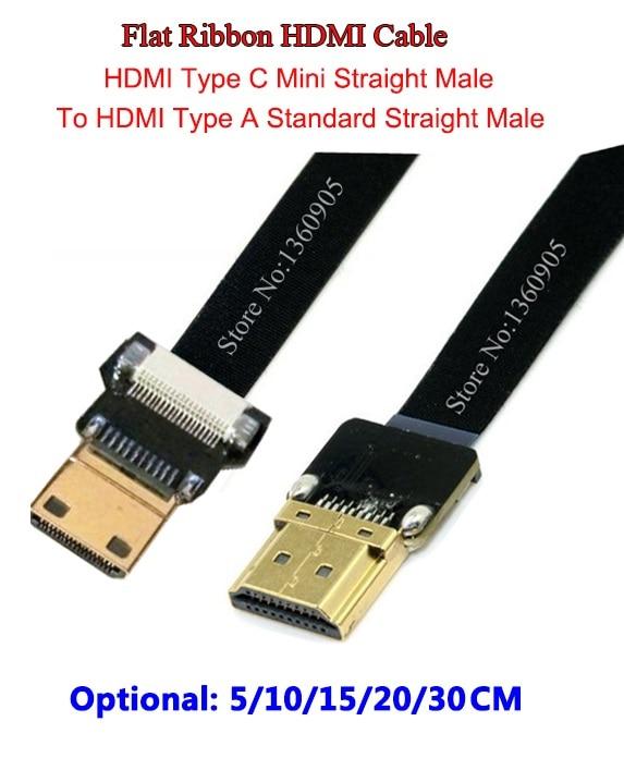 5CM/10CM/15CM/20CM/30CM Ultra Thin HDMI Cable Mini Straight Male To Standard Straight Male Flat Ribbon Soft Cable FPV