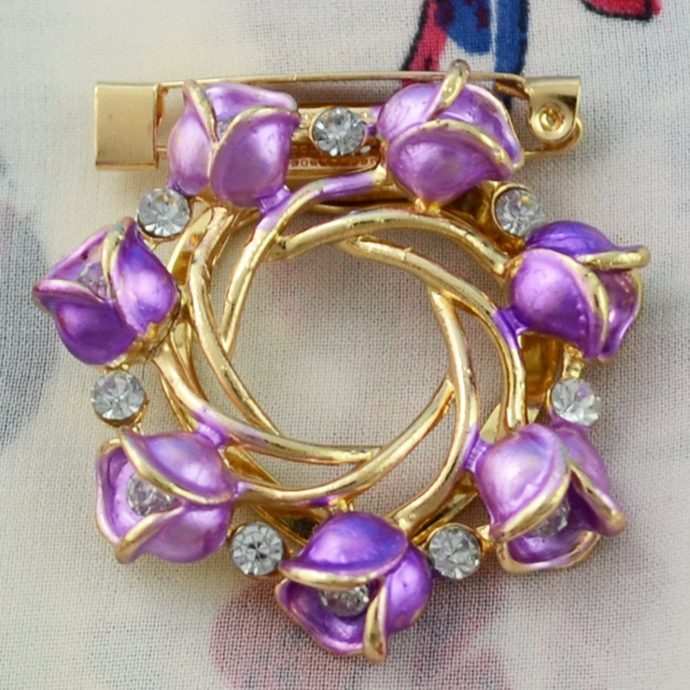 Idealway Lovely Purple Blue Rose Flower Shape Brooches Gold Metal Women Clothers Dress Bouquet Party Accessories Birthday Gift