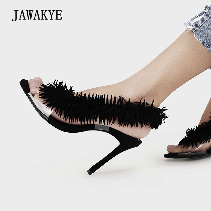 2018 Pvc Transparent Shoes Woman Open Toe Black Suede Tassel High Heel Shoes Women Fashion Gladiator Sandals