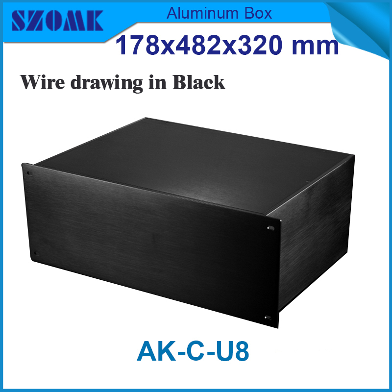 aluminum enclosure Black color high quality wire drawing and brush well rack 19 inch aluminum housing 178(H)x482(W)x320(L) mm 1 piece free shipping wire drawing black color 45 h x152 w x200 l mm aluminium junction box manufactures in china