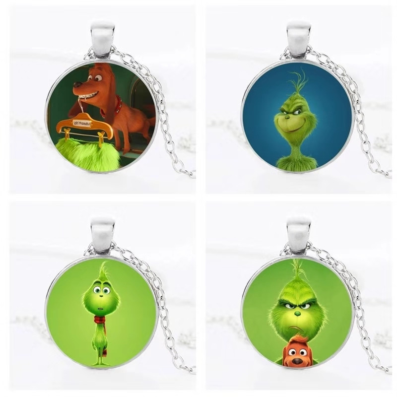 ZSQH Grinch Necklace The Grinch Stole Christmas Cosplay Costume Accessories Pendant Necklace Fashion Jewelry Gift Necklace Wome