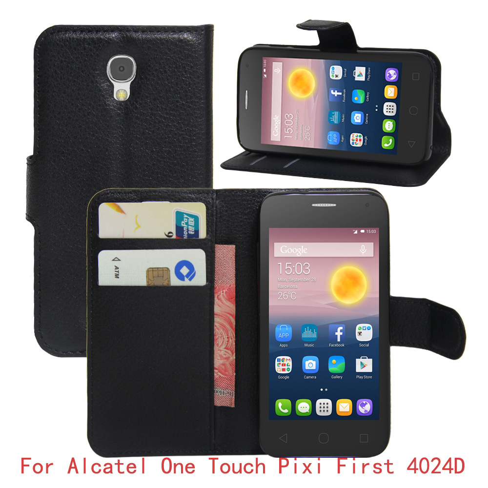 For alcatel one touch pixi first d case pu leather