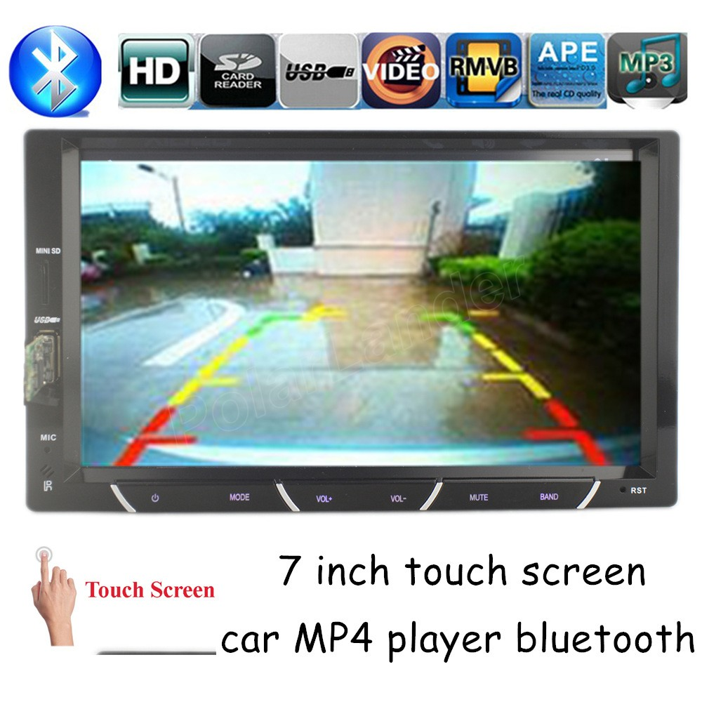 FM Stereo Radio SD USB touch screen Chinese English language Bluetooth Car MP4 player for Rear View Camera 2 din 7 inch 12v stereo 1 din car multimedia player fm radio mp3 mp4 player 3 6 inch touch screen bluetooth hands free calls sd usb charger
