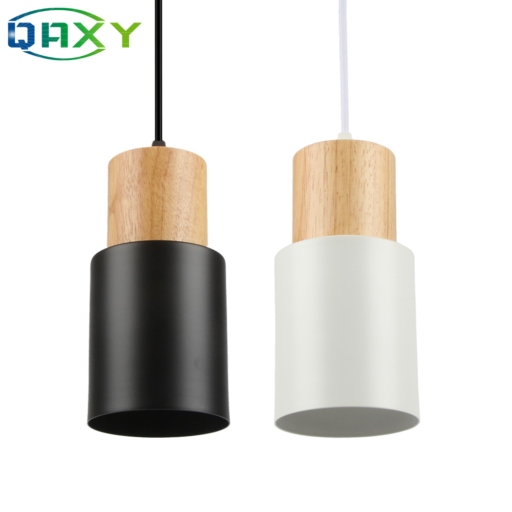 E27 Creative Simple Wood Pendant Lights Led Black/White Hanging Lamp Metal Kitchen Bar Hotel Bedroom Luminaire Suspendu[D7567]