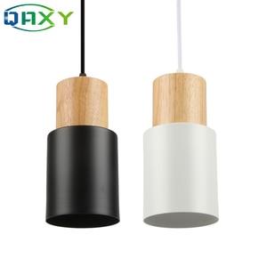 Image 1 - E27 クリエイティブシンプルな木製ペンダントライト led ブラック/ホワイトぶら下げランプ金属キッチンバーホテル寝室照明器具 suspendu [d7567]